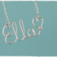 FREE SHIPPING!!!  Ella Wire Word Name Pendant Necklace