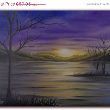 Original Surreal Art, Dark Landscape Painting, Whimsical Fantasy Art, Tree Wall Art, Purple Sky Oil Painting, 12 x 16, Beyond the Sunset