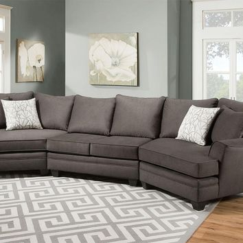 CASA 3 PC CUDDLER SECT GRAY - Sectionals - Living Room
