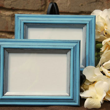 Cottage chic decor: Set of 2 vintage antique light blue & silver hand-painted wooden wall collage gallery picture frames