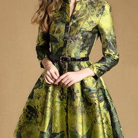 Yellow Vintage Floral Print Long Sleeve Dress Coat