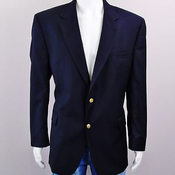 JoS A BANK Sports Coat Signature Collection 2 Button Wool Blazer Navy Sz 46R