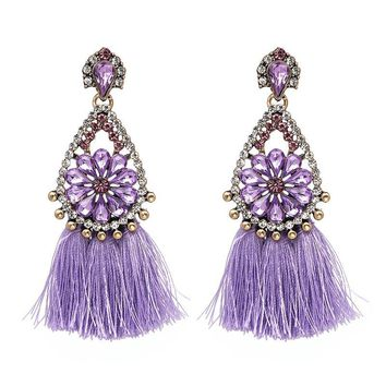Janika Orchid Tassel Crystal Boho Earrings