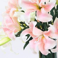 "Real Touch Lily Stem in Pink and White 35.4"" Tall"
