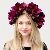Mardi Gras Velvet Magnolia Flower Crown - Mardi Gras Headpiece, Sugar Magnolia, Purple Floral Crown, Photo Prop, Burning Man, Costume.