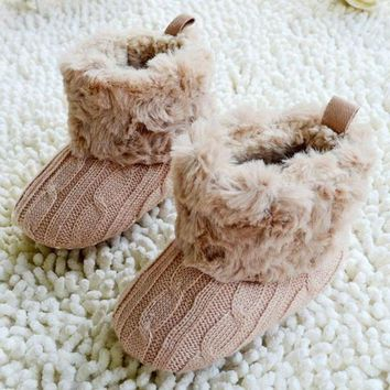 Kids Baby Crochet/Knit Fleece Boots Toddler Girl Wool Snow Crib Shoes Booties = 194638