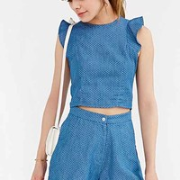 Oh My Love Denim Spot Short- Blue