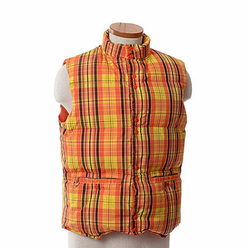 Vintage 70s Down Puffer Ski Vest 1970s Saska Orange Yellow Plaid New Wave Hipster Skiwear Ski Jacket Puffy Coat / Mens M / Unisex