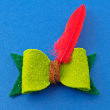 Peter Pan Hair Bow - Peter Pan Felt Hair Bow - Disney Inspired