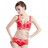 Luxury New Deep V New brand sexy big size push up bra set floral embroidery lace women underwear set bra and panties