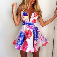 2015 Summer New Bandage Bodycon Floral Evening Sexy Party Cocktail Beach Dress