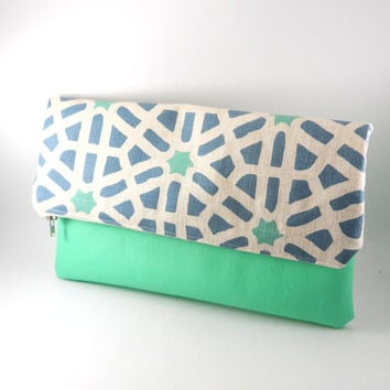 Bright Geometric Linen and Vegan Leather Foldover Clutch in Teal and Blue with Metal Zipper