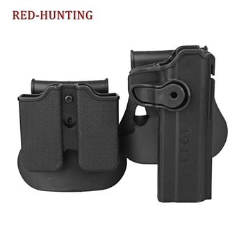 Tactical Gun Pistol Holsters with Magazine Clip Pouch Hunting IMI Holster Colt 1911 Right Hand Belt Loop Paddle Holster for 1911