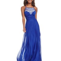 B Darlin Juniors' Jeweled Illusion Pleated-Skirt Gown | macys.com