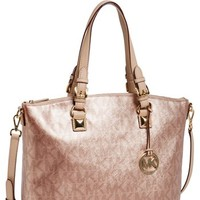 MICHAEL Michael Kors 'Jet Set' Metallic Leather Satchel