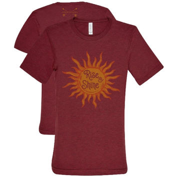 Southern Couture Lightheart Rise & Shine Triblend Front Print T-Shirt