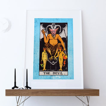 Tarot Print The Devil Retro Illustration Art Rider Print Vintage Giclee on Cotton Canvas or Paper Canvas Poster Wall Decor