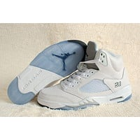 Nike Air Jordan 5 Retro White/Silver Men Sneaker Shoe