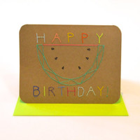 Happy Birthday watermelon hand stitched card, funfetti birthday card