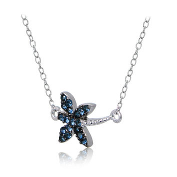 Sterling Silver Nano Simulated London Blue Topaz Dragonfly Necklace