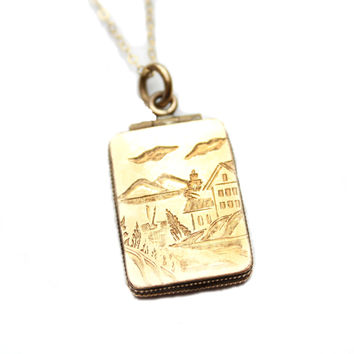 Antique Gold Filled Rectangular Locket Etched House and Mountains / b1