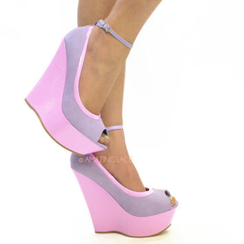 Sorority Perry Platform Wedge Heels Pastel Purple