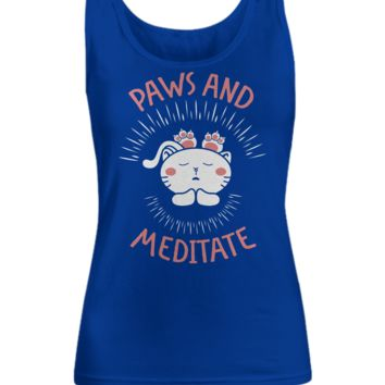 Paws and Meditate Cat Lovers Women's Tank Top