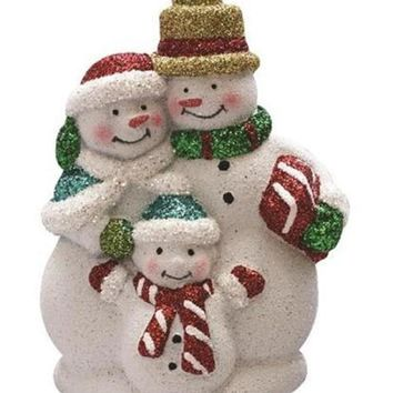 "4.5"" Merry & Bright White  Red and Green Glitter Shatterproof Snowman Family Christmas Ornament"