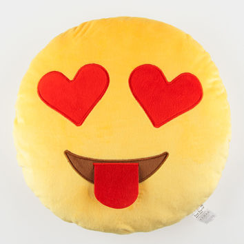 Smiley Face Heart Eyes Emoji Pillow Orange One Size For Women 27491470001