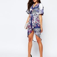 ASOS Wrap Dress With D-Ring In Mixed Floral Print at asos.com