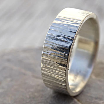 wide mens ring, mens wedding band, proposal ring silver wedding ring for him, bold mens ring silver mens promise ring silver ring tree bark