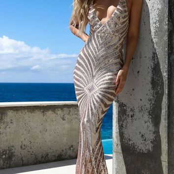 Champagne Dreams Gold Sequin Geometric Pattern Sleeveless Spaghetti Strap V Neck Mermaid Maxi Dress