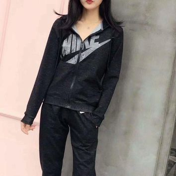 VXL8HQ NIKE' Women Casual Hooded Long Sleeve Trousers Set Two-Piece Sportswear G-A-GHSY-1