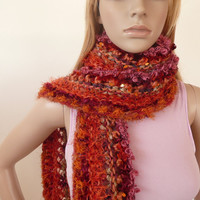 Hand Knitted Scarf one of a kind 10 Beautiful Yarns in Coral Tangerine Tango Unique Multicolor Scarf Winter Fashion Scarf