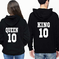 King Queen Hoodies Matching Couples hoodies, cool couples gift, couples clothing, couples outfit Tumblr couples clothes Unisex