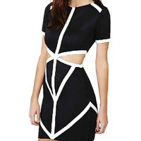 Color Block Cut-out Bodycon Dress
