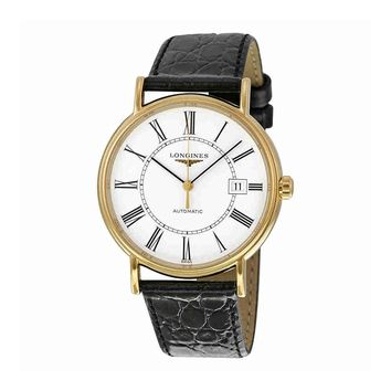 Longines Le Grande Classic White Dial Gold-plated Black Leather Mens Watch 49212112