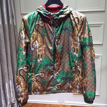 Trendy XXXL 2018 new fashion designer tiger print jacket wind breaker with hood for men long sleeve outwear clothing plus size animal AT_94_13