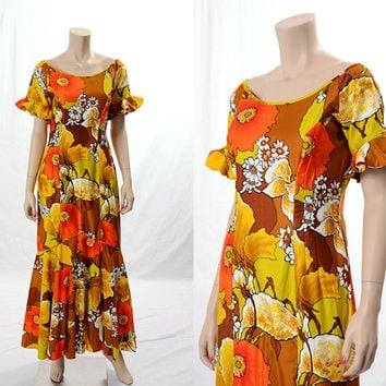 Vintage 60s Hawaiian Floral Maxi Dress 1960s Mod Flower Power Polynesian Ruffles Dress Tiki Wedding Boho Hippie size Medium