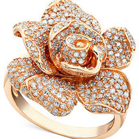 Pave Rose by Effy Collection Diamond Ring, 14k Rose Gold Diamond (1-1/8 ct. t.w.) - Rings - Jewelry & Watches - Macy's