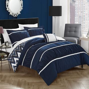 Chic Home 4-Piece Brooks Pleated & Ruffled with Chevron REVERSIBLE Backing Full/Queen Comforter Set Navy Shams and Decorative Pillows included Blue