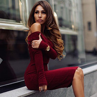 Sexy Strapless Solid Color Long Sleeve Dress
