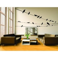 Many Nature Birds Sitting on Three wires Picture Art - Peel & Stick Sticker - Vinyl Wall Decal - 24 Colors Available 46x20