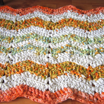 OOAK Cevron Rug Crochet Rug Rag Rug Area Rug Throw Rug