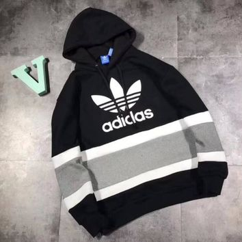 Adidas Fashion Letter Print Hooded Sweatshirt Pullover Tops Sweater
