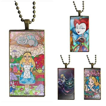 Stained Glass Alice In Wonderland For Women Jewellery Glass Cabochon Choker Pendant Rectangle Necklace Bronze Color Jewelry