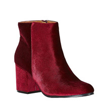 Velour Ankle Booties Red