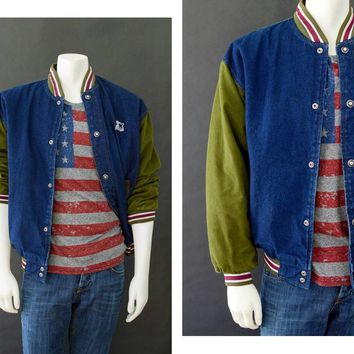 Vintage 90s STARTER Jacket, STARTER Denim Color Block Varsity Bomber Jacket, Size Medium, 90s Urban Style, Men's Dark Wash Denim Jacket