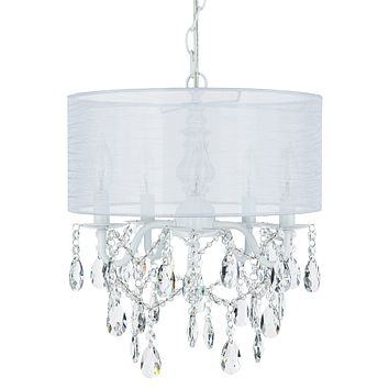 5 Light Crystal Plug-In Chandelier with Cylinder Shade (White)