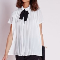 Missguided - Pleated Front Pussybow Blouse White